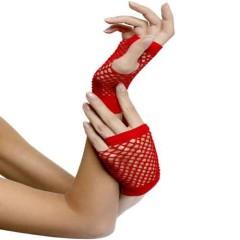 Γάντια Κοντά Διχτυωτά Κόκκινα 10 εκ.