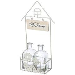 Βάση μεταλλική λευκή διπλή με βαζάκια γυάλινα Welcome λουλούδι 35cm