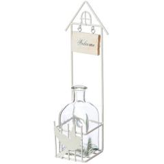 Βάση μεταλλική λευκή με βαζάκι γυάλινο κρεμαστή Welcome πουλάκι 30cm