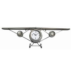 Ρολόι τοίχου μεταλλικό κρεμαστό επιτοίχιο αεροπλανάκι