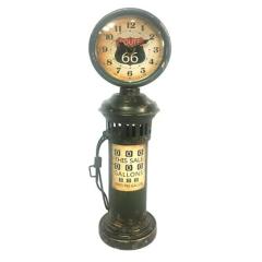Ρολόι επιτραπέζιο αντλία βενζίνης μεταλλική μαύρη Route 66