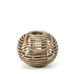 Φανάρι rattan με σχοινί μπάλα φυσικό χρώμα 31x22cm