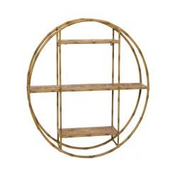 Ράφι τριπλό στρογγυλό μεταλλικό bamboo look 80cm