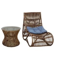 Midu σετ πολυθρόνα relax με τραπεζάκι από wicker σε φυσικό χρώμα