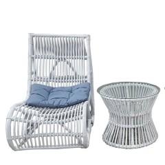 Midu σετ πολυθρόνα relax με τραπεζάκι από wicker σε λευκό χρώμα