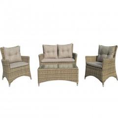 Enza σαλόνι κήπου wicker σε φυσικό χρώμα σετ 4 τεμάχια με διθέσιο καναπέ