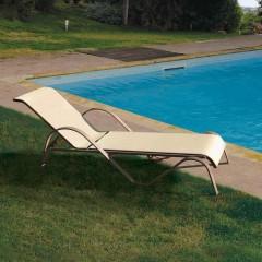 Lesli ξαπλώστρα πισίνας μεταλλική με πανί διάτρητο εκρού