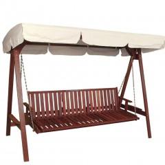 Nina κούνια-κρεββάτι τριθέσια από ξύλο red shorea
