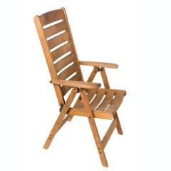 Πολυθρόνα οξιάς 5 θέσεων με ψηλή κοίλη πλάτη σε καρυδί χρώμα