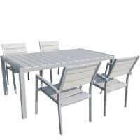 Τραπέζι κήπου 140Χ80cm  Ferrara white αλουμινίου με επιφάνεια polywood σταθερό