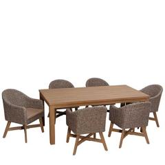 Garment σετ τραπεζαρία κήπου ξύλινη-wicker με 6 πολυθρόνες