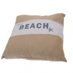 Μαξιλάρι διακοσμητικό τετράγωνο καφέ-λευκό Beach-Relax 2 σχέδια