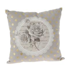 Μαξιλάρι διακοσμητικό τετράγωνο γκρι χρυσό με τριαντάφυλλα