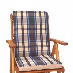 Μαξιλάρι πολυθρόνας με χαμηλή πλάτη καρώ μπλε-μπεζ-γαλάζιο