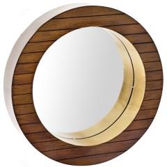 Καθρέπτης τοίχου ξύλινος καρυδιά 41εκ
