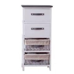 Συρταριέρα ξύλινη με 4 συρτάρια σε 2 σχέδια λευκή
