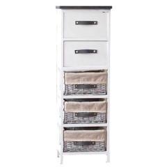 Συρταριέρα ξύλινη με 5 συρτάρια σε 2 σχέδια λευκή