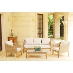 Nude set σαλόνι κήπου wicker με τριθέσιο καναπέ σε μπεζ χρώμα