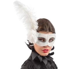 Μάσκα Λευκή με Φτερό και Λουλούδι