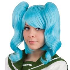 Περούκα με Κοτσίδες Μπλε
