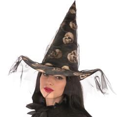 Καπέλο Μάγισσας με Νεκροκεφαλές Και Τούλι