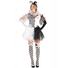 Fancy harlequin γυναικεία στολή αρλεκίνου για ενήλικες