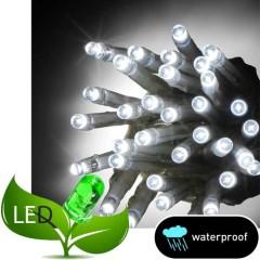 100 Λαμπάκια LED Επεκτεινόμενα Χωρίς Μετασχηματιστή Πράσινο καλώδιο Λευκό ψυχρό φως