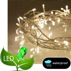 100 Λαμπάκια LED Επεκτεινόμενα με Μετασχηματιστή διάφανο καλώδιο θερμό λευκό φως